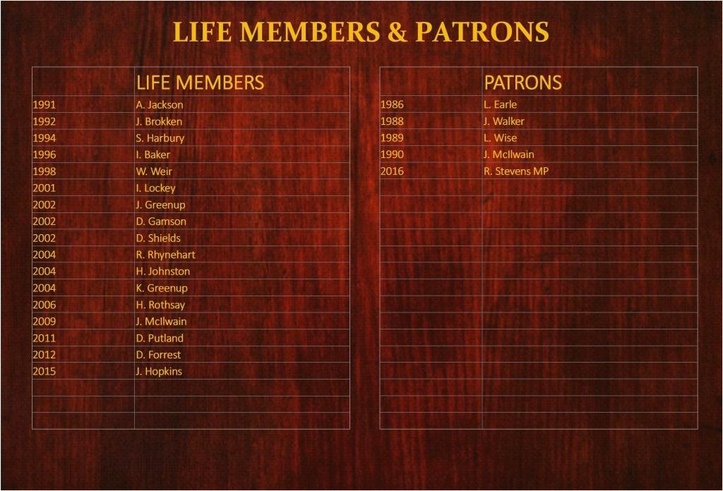 Life Members & Patrons
